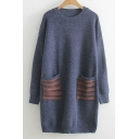 Fashion Striped Pattern Long Sleeve Round Neck Tunic Sweater with Double Pockets