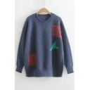 Basic Casual Leisure Round Neck Long Sleeve Fashion Color Block Sweater