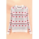New Stylish Heart Print Round Neck Long Sleeve Fitted Sweater