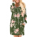 New Stylish Floral Print Drawstring Hooded Long Sleeve Pocket Loose Fit Dress