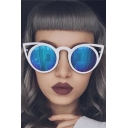 New Fashion Cool Girl Color Block Cat-Eye Design Sun Glasses