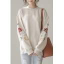 New Stylish Embroidered Split Side Dip Hem Round Neck Long Sleeve Pullover Sweatshirt