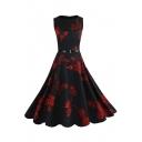 Retro Chic Floral Pattern Round Neck Sleeveless Fit & Flare Midi Dress
