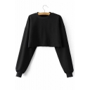 Simple Plain Round Neck Long Sleeve Cropped Pullover Sweatshirt