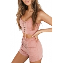 New Stylish Lace-Up Cropped Cami Shorts Plain Co-ords