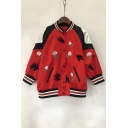 Color Block Floral Embroidered Contrast Stand-Up Collar Long Sleeve Baseball Jacket