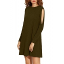 Simple Plain Crew Neck Hollow Out Side Long Sleeve Shift Mini Dress