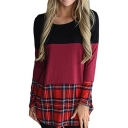 Color Block Panel Round Neck Long Sleeve T-Shirt Mini Dress