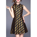 Chic Color Block Dove Pattern Crew Neck Sleeveless Slim Flared Short Dress
