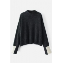Color Block Cuff Mock Neck Long Sleeve Comfort Pullover Sweater