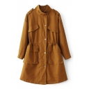 Stand-Up Collar Long Sleeve Simple Plain Multi-Pockets Buttons Down Coat