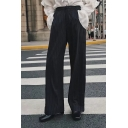 New Fashion Striped Pattern Buttons Embellished Side Wide-Leg Pants