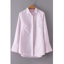 Lapel Collar Split Side Flared Long Sleeve Buttons Down Striped Shirt