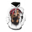 Color Block Portrait 3D Print Long Sleeve Hoodie