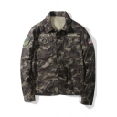 US Army Camouflage Lapel Collar Badge Embellished Long Sleeve Pilot Jacket