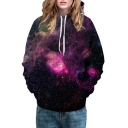 Hot Popular Fashion Purple Galaxy Pattern Casual Sports Hoodie with Pockets