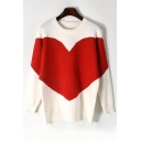 New Stylish Heart Print Round Neck Long Sleeve Loose Fit Pullover Sweater