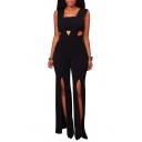 New Stylish Solid Keyhole Zip Back Split Hem Square Neck Sleeveless Jumpsuit