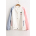 Color Block Crew Neck Tree Embroidered Single Brested Long Sleeve Coat