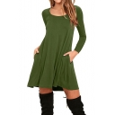 New Fashion Simple Plain Round Neck Long Sleeve Mini Swing Dress