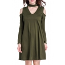 Simple Plain Chocker Neck Cold Shoulder Long Sleeve Shift Mini Dress