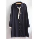 Simple Chic Lapel Collar Contrast Cuff Long Sleeve Buttons Down Shirt