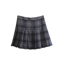 New Stylish Zip Fly Classic Plaid Mini A-line Pleated Skirt