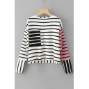 Fashion Color Block Striped Pattern Long Sleeve Round Neck Sweater