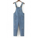 Light Wash Ripped Out Straps Denim Jumpsuit with Pockets