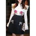 New Fashion High Waist Bow Beaded Short Skirt