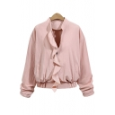 Stand-Up Collar Ruffle Trim Embellished Zipper Long Sleeve Cropped Coat
