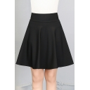 Simple Plain High Waist A-Line Short Skirt