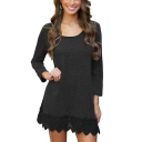 Simple Plain Crochet Hem Scoop Neck Long Sleeve Short Dress