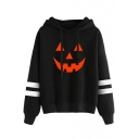 2017 Halloween Collection Color Block Pumpkin Print Contrast Ribbed Long Sleeve Hoodie