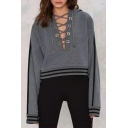 New Stylish Tie Front Stripe Side Long Sleeve Hoodie