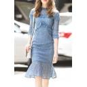 Chic Ruffle Round Neck Fishtail Hem Half Sleeve Slim Midi Dress