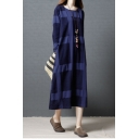 Simple Round Neck Check Pattern Long Sleeve Loose Maxi Dress
