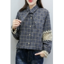 Chic Bow Tie Collar Lace Panel Long Sleeve Button Down Plaid Shirt