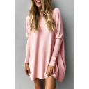 New Fashion Simple Plain Round Neck Longline Long Sleeve Loose Tee