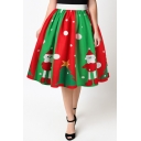 Lovely Cartoon Santa Claus Printed High Rise Midi Flared Skirt