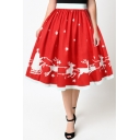 New Arrival High Waist Christmas Elk Pattern Midi A-Line Flared Skirt