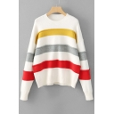 Chic Color Block Striped Pattern Long Sleeve Round Neck Pullover Sweater