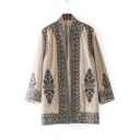 Chic Embroidered Long Sleeve Open Front Casual Loose Kimono Coat