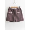 Lovely Cartoon Fox Embroidered High Rise Elastic Waist Loose Shorts