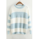 Round Neck Long Sleeve Color Block Striped Pattern Pullover Sweater