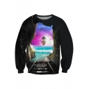 Color Block Train Ride 3D Print Long Sleeve Pullover Sweatshirt