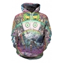 New Arrival Stylish Cartoon Pattern Long Sleeve Hoodie with Pockets