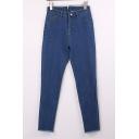 New Stylish Zip Back Frayed Hen Plain Ankle Grazer Jeans