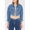 Simple Plain Lapel Single Breasted Long Sleeve Cropped Denim Jacket