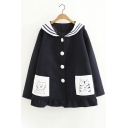 Fashion Cute Cartoon Cat Pattern Collared Long Sleeve Ruffle Hem Coat